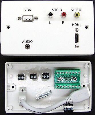 AV Wall Plate, HDMI / VGA / 3.5mm Jack / 3 Phono AV Sockets with screw terminals Jack Wall Plate