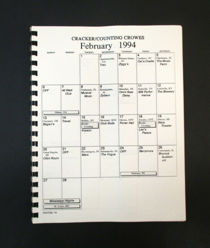 Cracker + Counting Crows February 1994 Tour Band & Crew Itinerary Book