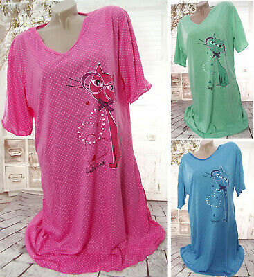 Kurzarm-nachthemd (NEU Damen Kurzarm NACHTHEMD Nachtwäsche Schlafshirt Pyjama Punkte HERZEN KATZE)