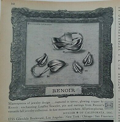 1959 Renoir of California vintage copper jewelry earrings pin brooch ad