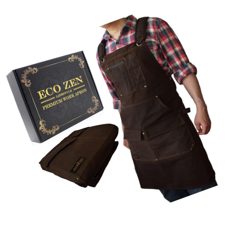 Work Shop Apron Waxed Canvas with Pockets Waterproof Adjustable For Men Women