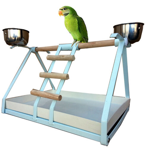 BIRD SMALL PARROT METAL PLAYSTAND Play Gym With Stainless Steel Cups -293