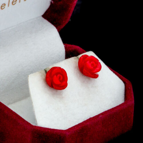 Antique Vintage Deco 925 Sterling Silver Red Coral Carved Rose Earrings 1.8 g