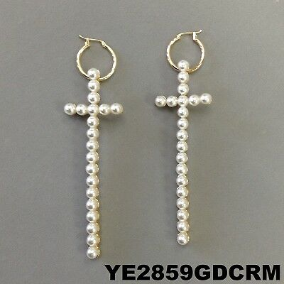 Cross Design Hoop - Cream Pearl Beads Cross Bar Design Gold Finish Hoop Dangle Earrings YE2859GDCRM