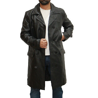 Men's Dr Who Black Military Double Breast U-boat Leather Peacoat 3/4 Long Coat