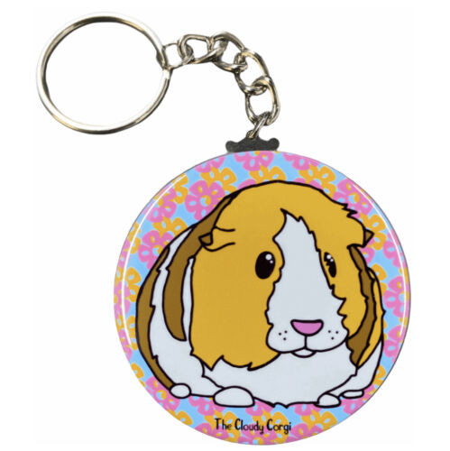 Floral Guinea Pig Keychain Keyring Tropical Cavy Key Ring Backpack Accessories