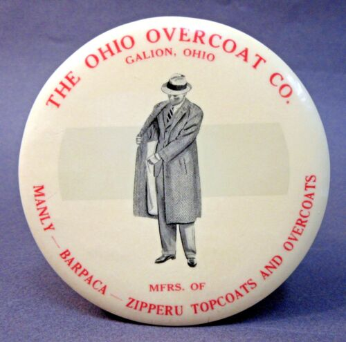 vintage THE OHIO OVERCOAT CO. Galion OHIO paperweight pocket mirror *