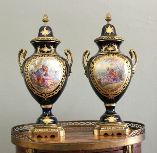 Antique pair 19c French Gilt-Bronze Sevres style signed cobalt blue urns vases