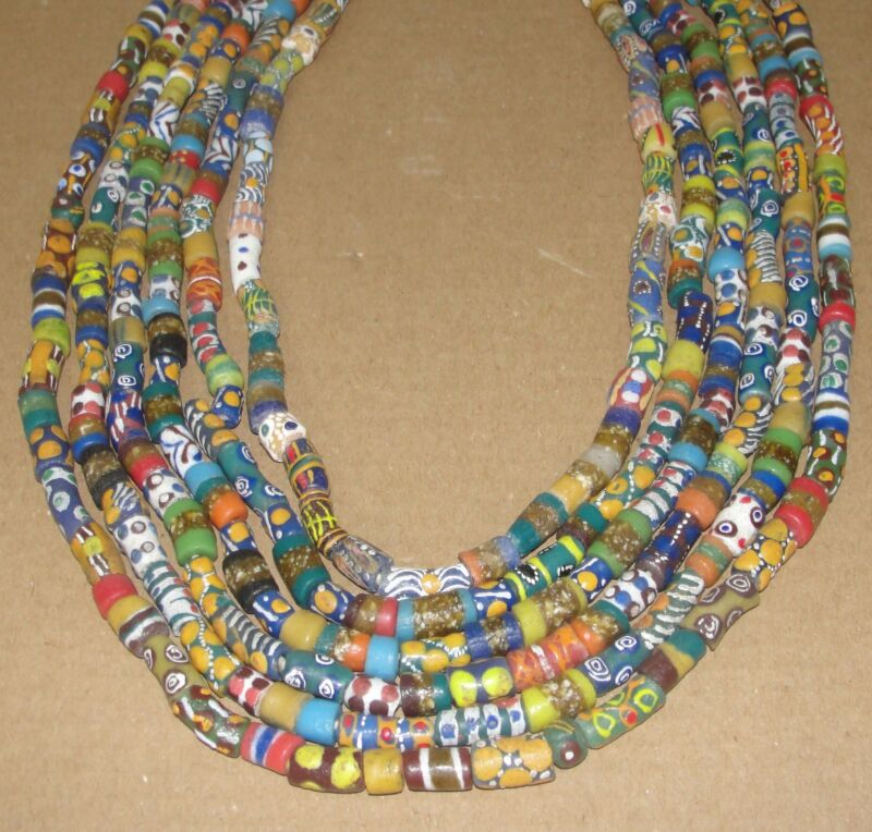 African Necklace Trade Beads Long Strand Necklet Choker Ghana Ashanti Multicolor