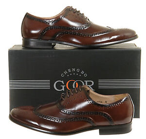 Mens-New-Brown-Leather-Lined-Lace-Up-Brogues-Antique-Style-Size-6-7-8-9-10-11-12