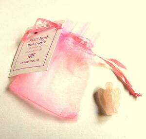 Healing Crystal Pocket Angel - 25mm - With Pouch - Choice Of Stones Available