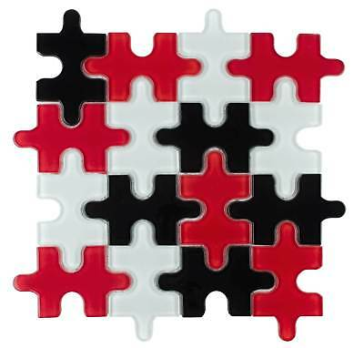 Modern Mosaic Black White Red Glossy Glass Backsplash Tile Kitchen Wakk (Black & White Tile)