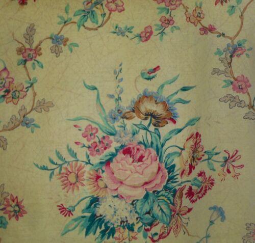 Antique English Botanical Floral Cotton Fabric ~ Softened Yellow Rose Blue