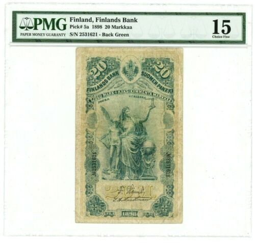 Finland ... P-5a ... 20 Markkaa ... 1898 ... *F+* ... PMG 15/ Not listed Serie.