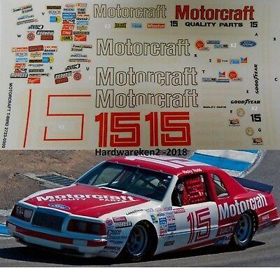 NASCAR DECAL #15 MOTORCRAFT 1986 FORD THUNDERBIRD RICKY RUDD - 1/24