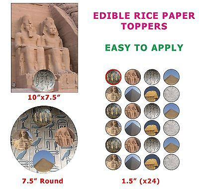 Ancient Egypt Sphynx Pyramids Of Giza Cake/Cup Cake Toppers On Edible Rice Paper (Cup Cake Toppers)