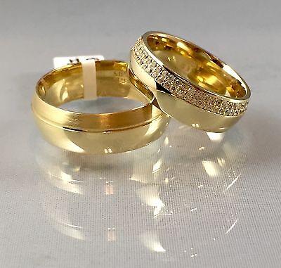 Paarpreis Trauringe Eheringe Partnerringe Verlobungsringe 7 mm 585 Gold 14 Karat