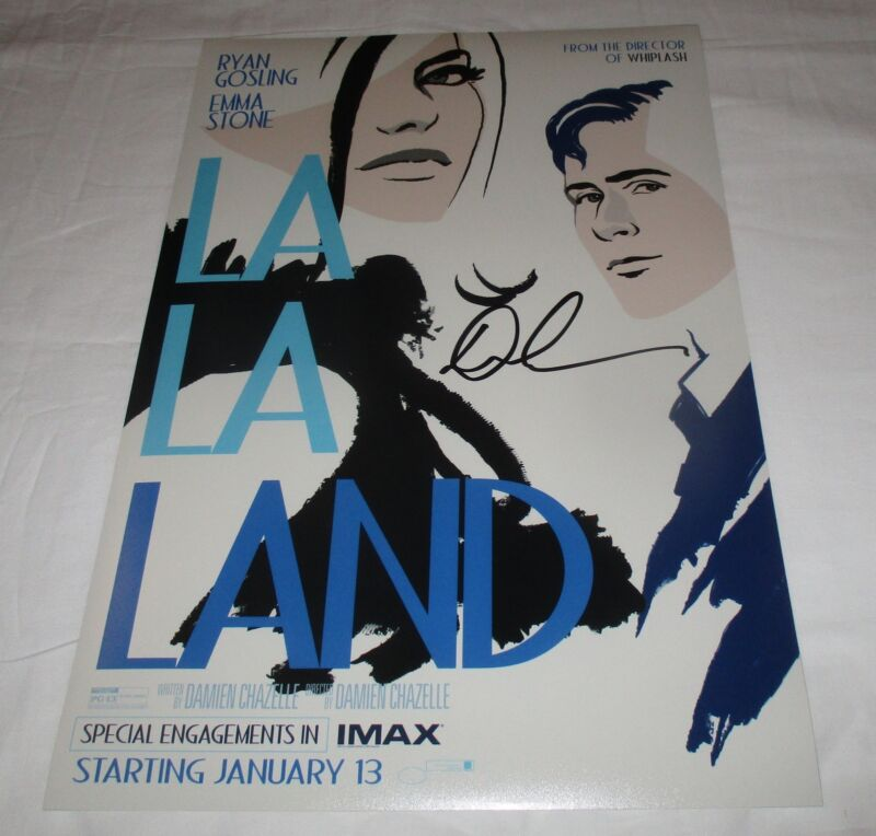 DAMIEN CHAZELLE SIGNED LA LA LAND 12X18 MOVIE POSTER 3