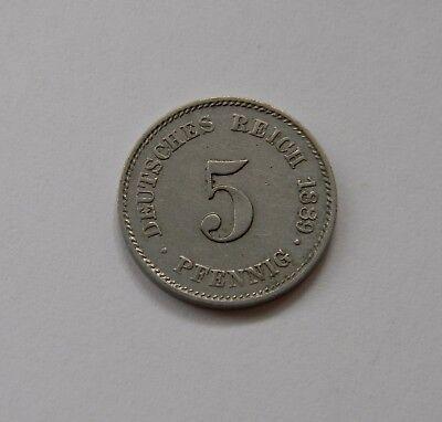 KAISERREICH: 5 Pfennig 1889 E, J. 3, vorzüglich !!!