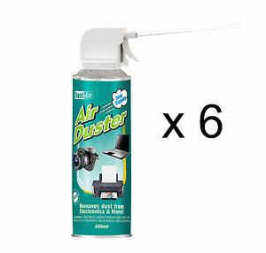 6 x 400ml Compressed Air Duster Cleaner Spray Can Canned Laptop Keyboard Mouse