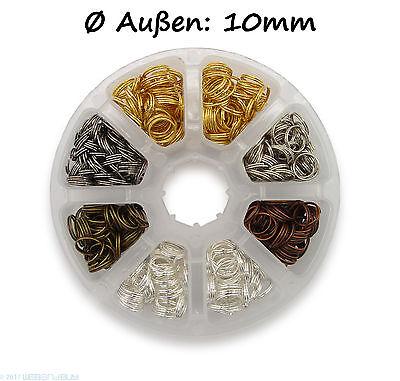 Schlüsselringe Set 10mm Durchmesser verschiedene Farben ca.10g / 55Stk je Fach
