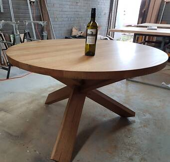 Round Dining Table TASMANIAN OAK 123cm, HAND MADE IN MELBOURNE