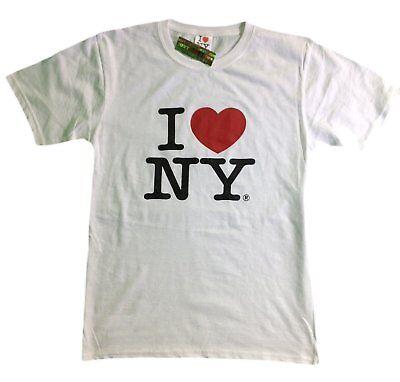 I Love Ny - I Love NY New York Short Sleeve Screen Print Heart T-Shirt White NY Mens Tee NYC