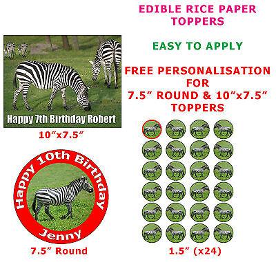 Personalised Zebra Safari Animal Birthday Cake/Cupcake Toppers On Rice Paper  (Safari Cupcake Toppers)