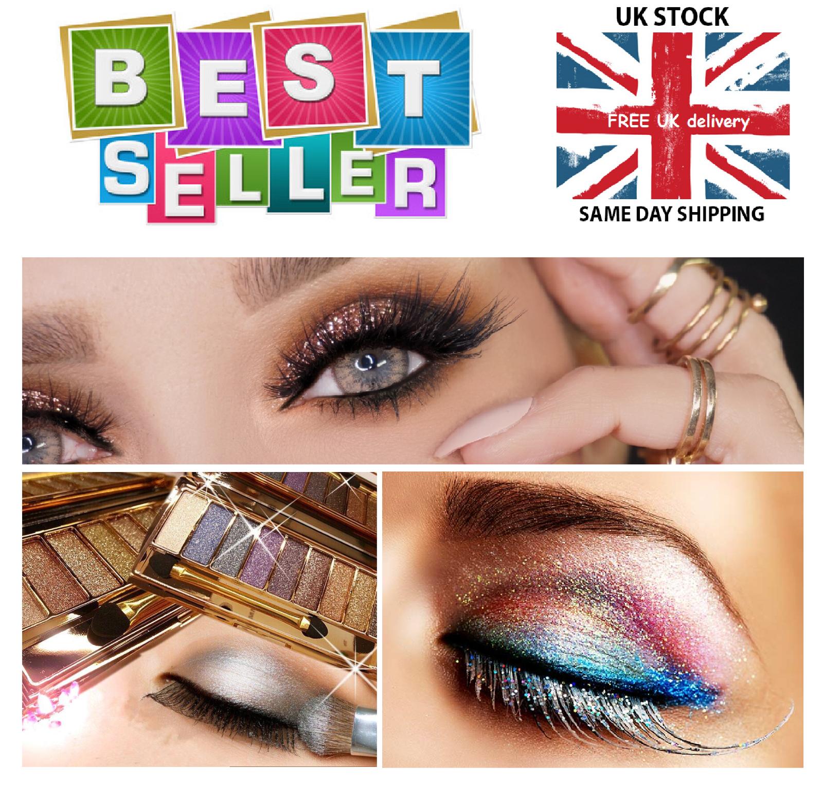 Bright Diamond Eyeshadow Palette Makeup Brush Glitter 9 Colours Beauty Set New