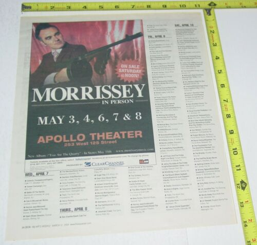 Morrissey Concert AD Advert 2004 Tour You Are the Quarry Apollo Theater NY NYC