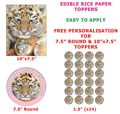 Personalised Tiger Cub Childrens Birthday Cake/Cupcake Topper On Rice Paper  (Cubs Birthday Cake)