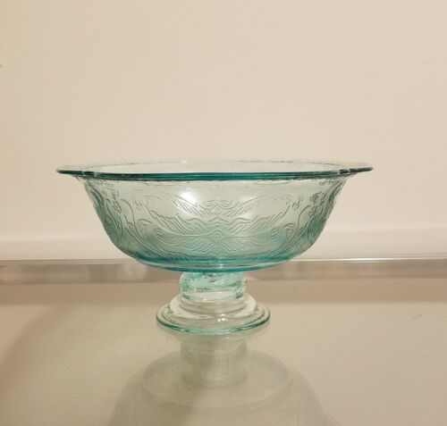 Vintage Indiana Glass Recollection Madrid TEAL Pedestal Serving Bowl