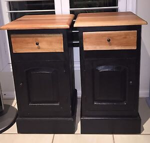 Black and timber bedside tables cabinets furniture Robina Gold Coast South Preview