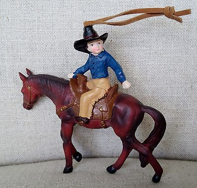 Cowboy on Horse Ornament Vintage Looking w/Realistic Chaps & Hat  -  NEW