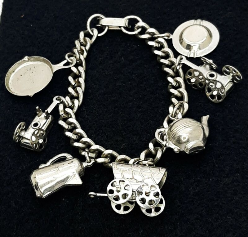 "Vintage Midcentury Charm Bracelet Covered Wagon Charm Western Pioneer Theme 6.5"""