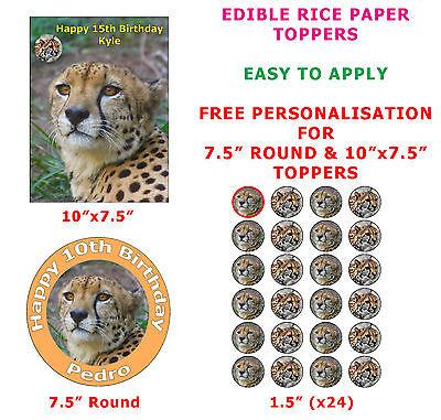 Personalised Cheetah Safari Animal Birthday Cake/Cupcake Toppers On Rice Paper  (Safari Cupcake Toppers)