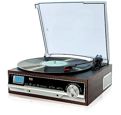 Plattenspieler Schallplattenspieler PLL Radio Retro Holz Nostalgie AUX IN NEU - Plattenspieler