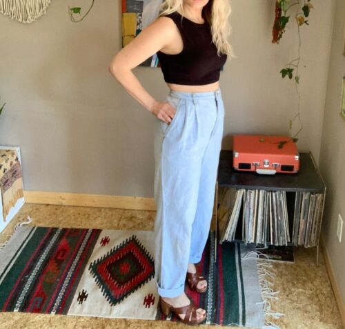 80s-90s women's vintage high waisted bleach denim pleated front jeans boho minim