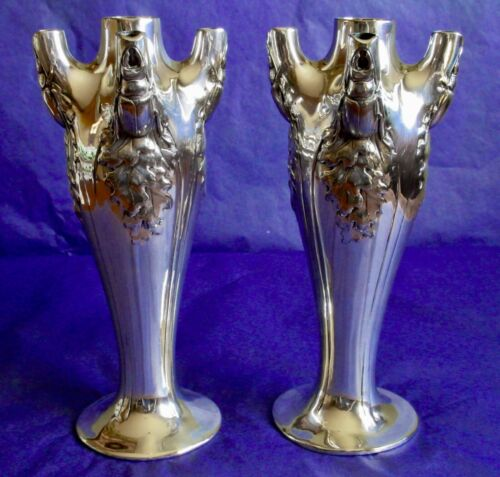 CHRISTOFLE GALLIA FRANCE Stag Beetles Vases Scarce Antique Art Nouveau Pair 1900