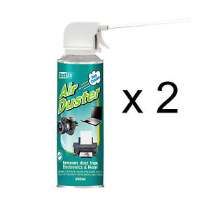 2 x 400ml Compressed Air Duster Cleaner Can Canned Laptop Keyboard Mouse