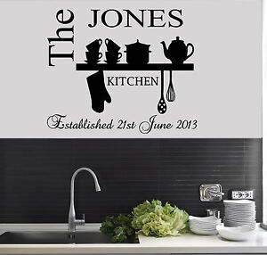 Personalised Family Est Name Kitchen Wall Art sticker