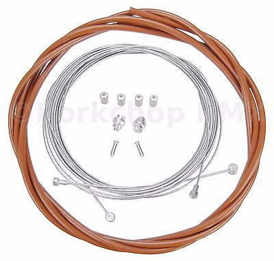 CLEAR Bicycle 5mm LINED brake cable housing and hardware kit BMX MTB VINTAGE