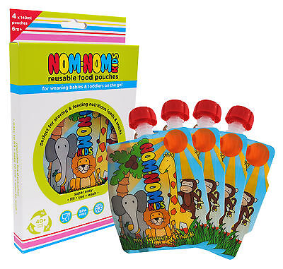 Nom Nom Kids REUSABLE FOOD POUCHES x 4 - 140ml for baby & toddler, BPA free