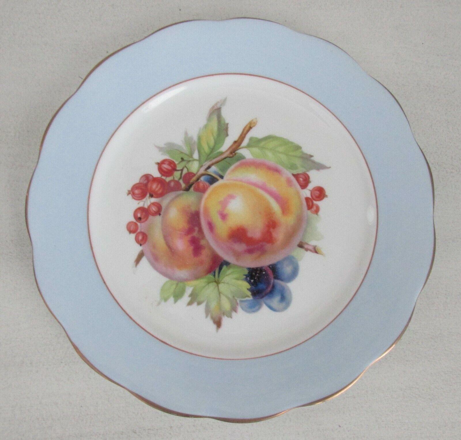 6 Copelands Grosvenor Bone China Pastel Blue Scalloped Dessert Plates With Fruit - $47.99