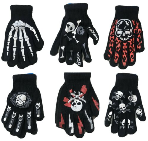Halloween Gloves Knitted Assorted Skulls Winter Youth Kids Boys Gloves