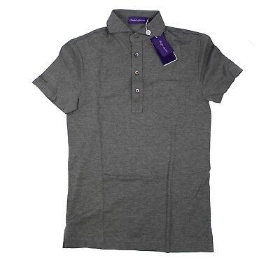 Ralph Lauren Purple Label Mens Cotton Pocket Garment Wash Grey Pique Polo Shirt