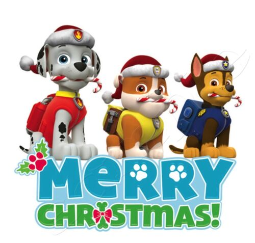 Iron On Transfer Merry Christmas Paw Patrol Chase Rubble