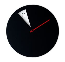 Modern Round Novelty Wall Clock with a Spinning Disk (Black/Red)