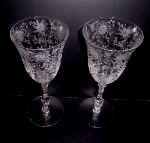 """2 Cambridge Glass Wildflower Etched 8.25"""" Water Goblets  Wine Glasses 10 Oz."""