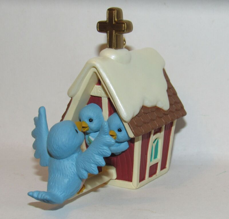 Treetop Choir Bluebirds on Church Birdhouse Hallmark Ornament 1998